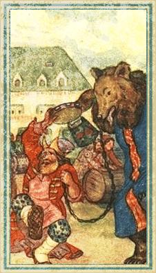 Скоморох с бубном, медведем, и прыгает на одной ноге